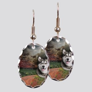 """""""Why God Made Dogs"""" Malamute Earring Oval Charm"""