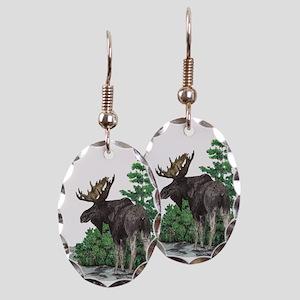 Bull moose art Earring Oval Charm