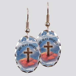 He Has Risen Rugged Cross With Earring Oval Charm