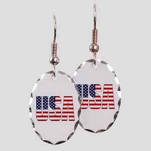 USA Flag Earring Oval Charm