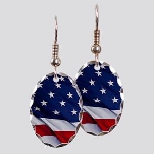 United States Flag in All Her G Earring Oval Charm