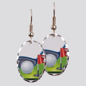 Golf court with club and ball Earring Oval Charm