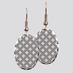 Grey Plus Sign Pattern Earring Oval Charm