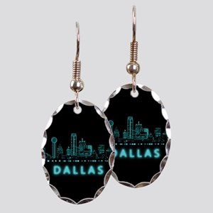 Digital Cityscape: Dallas, Texa Earring Oval Charm