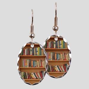 Bookshelf Books Library Bookwor Earring Oval Charm