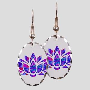 Lotus flower Earring Oval Charm