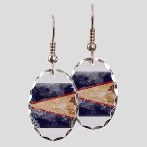American Samoa Flag Earring Oval Charm