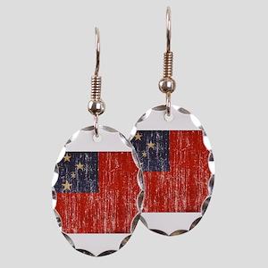 Samoa Flag Earring Oval Charm