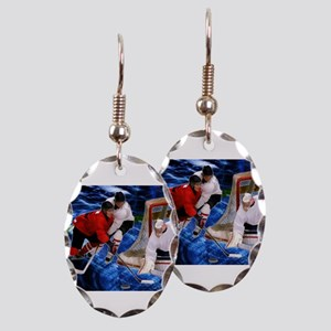 Action at the Hockey Net Earring Oval Charm