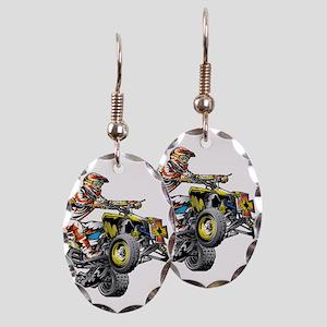 ATV Quad Racer Freestyle Earring Oval Charm