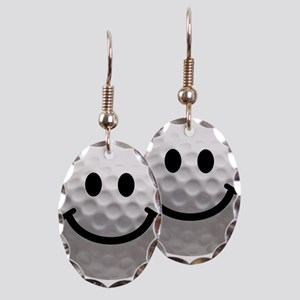 Golf Ball Smiley Earring Oval Charm