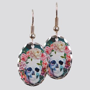 Flowers and Skull Earring Oval Charm