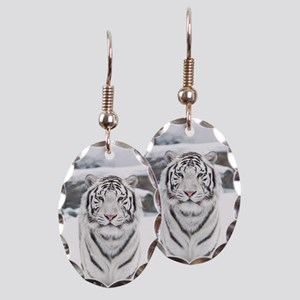 White Tiger Earring Oval Charm