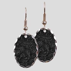 Black Flourish Earring Oval Charm