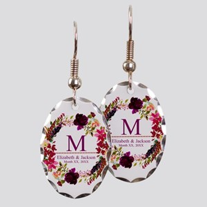 Boho Wreath Wedding Monogram Earring