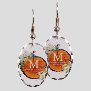 Floral Wood Wedding Monogram Earring