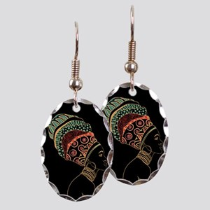 African Woman Earring Oval Charm