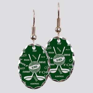 Personalized Monogram Golf Gifts Earring Oval Char