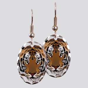 Tiger Earring Oval Charm