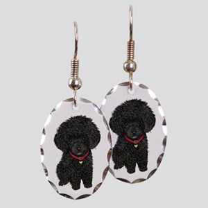 Black Poodle Puppy Earring Oval Charm