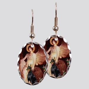 Seated Angel & Dobie Earring Oval Charm