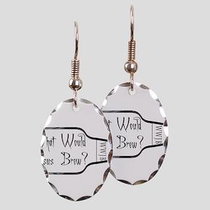 WWJBSidewaysBottleBlackBack Earring Oval Charm