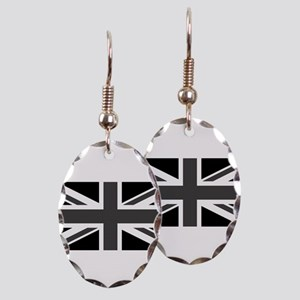Union Jack - Black and White Earring Oval Charm