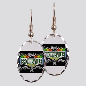 Brownsville Brooklyn NYC (Black) Earring Oval Char