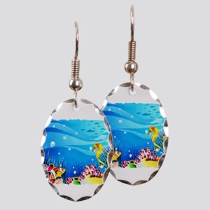Undersea Coral, Fish Seahors Earring Oval Charm
