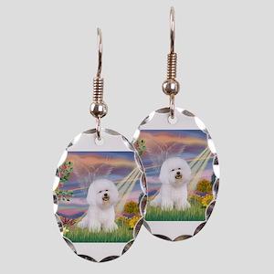 Cloud Angel & Bichon Earring Oval Charm