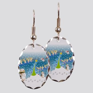 Holiday, happy Earring Oval Charm