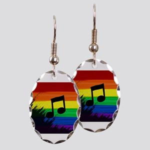 Musical note gay rainbow art Earring Oval Charm