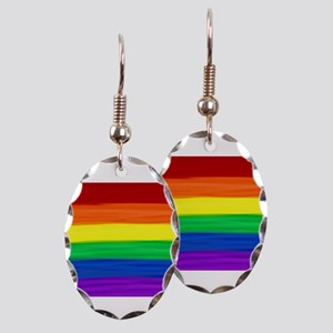 Gay rainbow art Earring Oval Charm