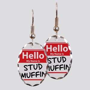 Hello My Name is Stud Muffin Earring Oval Charm