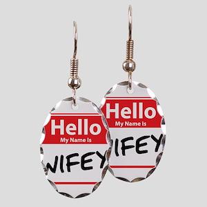 Hello My Name is Wifey Earring Oval Charm