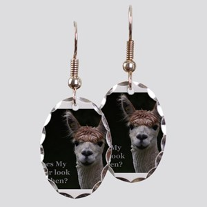 Alpaca with funny hairstyle Earring Oval Charm