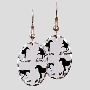 Horse Cars Earring Oval Charm