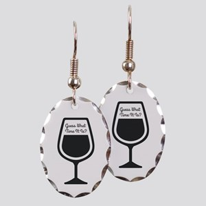 Guess What Time - WINE Earring Oval Charm