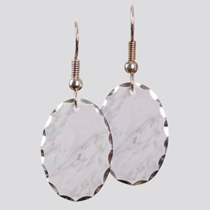 White Marble Earring Oval Charm