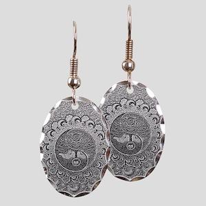 Shiny Metallic Tree of Life Yin Earring Oval Charm