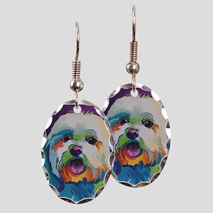 Dash the Pop Art Dog Earring Oval Charm