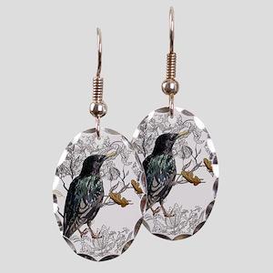 Leaves birds background set Earring Oval Charm