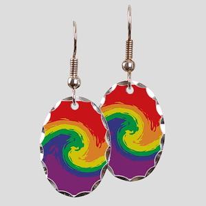 Rainbow Swirl Earring Oval Charm
