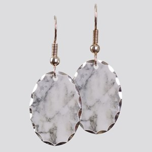 Trendy white and gray marble te Earring Oval Charm