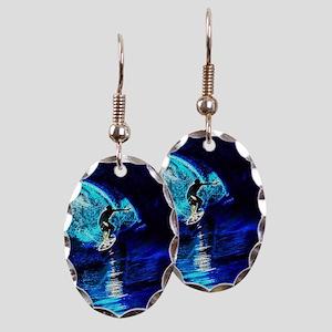 beach blue waves surfer Earring Oval Charm