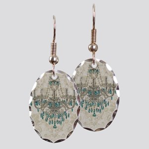 shabby chic damask vintage chan Earring Oval Charm