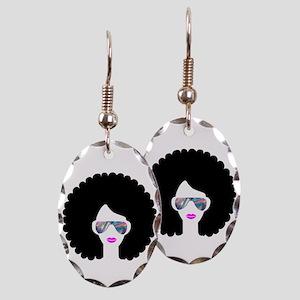 hologram afro girl Earring Oval Charm