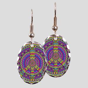 Peace Sign Mandala Earring Oval Charm