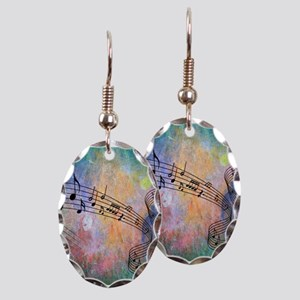 Abstract Music Earring Oval Charm
