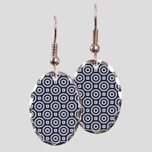 blue Geometric pattern Earring Oval Charm